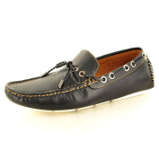 """New Mens Leather """"Look"""" Casual Loafers Moccasins Slip on Driving Shoes with Lace Detail"""