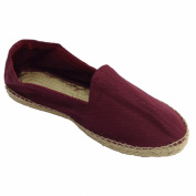 Hemp fabric and rubber sole Sandals Chevron below Made in Spain in burgundy