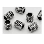 Dreadz Silver Tube Hair Beads x 3