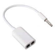White 3.5mm Audio Jack To Double Out Earphone Headset Headphone Splitter Works With All ipod / iPad / iPhone Models, Smartphones, Tablets, Laptops, Macbook, Hifi, Dvd, MP3 And MP4 Players, Home Stereo - Audio 3.5mm Jack Splitter - White by eGAZS