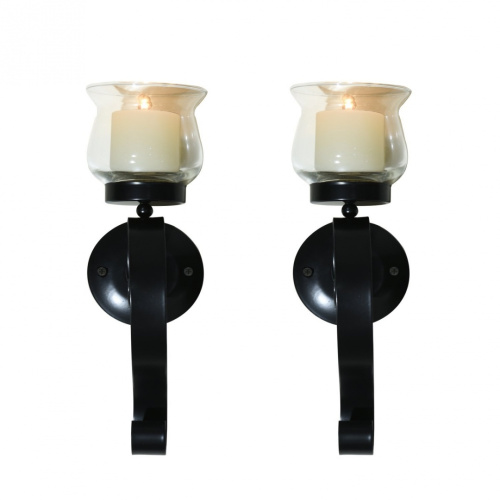 Candle Wall Sconces Nz : Edeco Set of 2 Metal Wall Sconces with Glass Candle Holder. Delivery is Free eBay