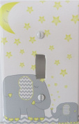 Elephant Light Switch Plate Covers Yellow Stars and Moon with Chevrons / Single Toggle / Elephant Nursery Decor
