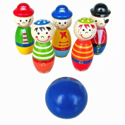 Creazy® Children Toys Wooden Bowling Ball Skittle Funny Shape for Kids Game
