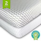2 Pack Fitted Crib Sheet by Ziggy Baby in Grey Chevron & Polka Dot