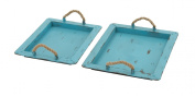 Benzara 48560 Superb Metal Rope Trays Set of 2