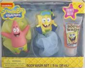 Spongebob Squarepants Tub Time Friends 3 PC Bath Gift Set - Includes 2 Bath Pouffes & Body Wash