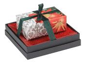 Mudlark Handcrafted Soap Bar and Dish Gift Set, Classic Almond/Festive Tidings