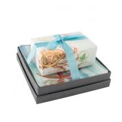 Mudlark Handcrafted Soap Bar and Dish Gift Set, Classic Almond/Bimini