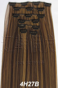 Liaohan® 60cm Clip in Hair Extensions Straight Long Clip in on Hairpieces Heat Resistant Synthetic Hair 7pcs/Set 130gram 4H27 Highlights Brown Hair