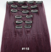 Liaohan® Clip in Hair Extensions Straight Long Clip on Hairpieces Heat Resistant Synthetic Hair 7pcs/Set 130gram Wine Red Hair