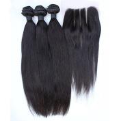 SAOMAI® 7A Brazilian Virgin Straight Hair 3 Bundles With 3 Part Silk Base Lace Closure Bleached Knots Hair Pieces Unprocessed Human Hair Extension 100g/Bundle