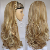 Liaohan® Fashion Half Wig Hair Fall Long Curly Highlights Hair Wig Synthetic Curly Wigs for Women 22H613 Brown Blonde Wig Fall with Headband