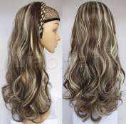 Liaohan® Fashion Half Wig Hair Fall Long Curly Highlights Hair Wig Synthetic Curly Wigs for Women 8H613 Brown Blonde Wig Fall with Headband