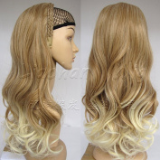 Liaohan® Fashion Half Wig Hair Fall Long Curly Ombre Wig Two Tone Curly Wigs for Women 27T613 Brown Blonde Wig Fall with Headband
