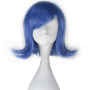 Miss U Hair Movie Sadness Blue Short Wavy Girl's Anime Cosplay Full Wig