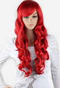 """WY Blue Sky Girl Women 28""""70cm Long Curly Wave Layered Lolita Red With Side Swept Bangs Cosplay Party Costume Hair Wigs Synthetic Fashion+Free Wig Cap"""