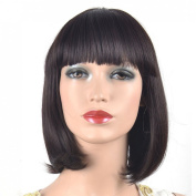 Coolsky Wig Charming Short Dark Brown Hair With Bang Wigs