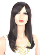 Coolsky Wig Long Straight Brown Woman Classical Hair With Bang For Party or Daily Life