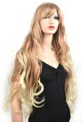 Coolsky Wig Sexy Long Curly Blond and Light Blond Woman Cosplay Wigs Costume Wigs