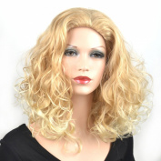 Coolsky Wig Sexy Woman Medium Blond Curly Hair Cosplay Wigs Costume Wigs