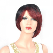 Coolsky Wig Short Straight Wine Red and Black Woman Wigs Costume Wigs