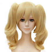 Anogol Hair Cap+Blonde Fancy Dress Costume Wig With Ponytails Short Lolita Hair Wigs D0093