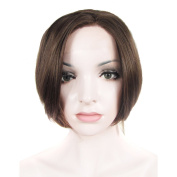 Lace Wig Short Straight Synthetic Lace Front Wig Heat Resistant Dark Brown