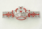 Faship Crown Hair Barrette Clip Red Crystal