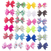 Bzybel Boutique Girl's Small 7.6cm - 10cm Grosgrain Ribbon Hair Bow Clips, Barrettes for Baby Shower Gift (20pcs 7.6cm Christmas hair bows