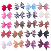 Bzybel Boutique Girl's Small 7.6cm - 10cm Grosgrain Ribbon Hair Bow Clips, Barrettes for Baby Shower Gift (20pcs 7.6cm Animal print hair bows