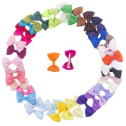 Bzybel 41 Pcs 6.4cm Baby Girl's Boutique Hair Bows Grosgrain Ribbon Bows Alligator Clips Hair Clips Headbands 41 Colours