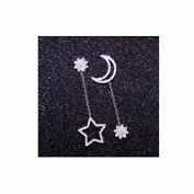Prettyou White Manmade Crystal Star and Moon Charm Drop Dangle Earings Eardrop Stud Earings