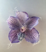 Glittered Fabric Phalaenopsis Orchid Artificial Flower Hair Clip/Pin Brooch