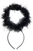 Black Feather + Silver Tinsel Dark Angel Fancy Dress Halo Head Band Halloween