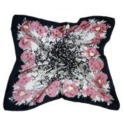 Vigoo® Womens 100% Silk Scarf Black Pink Floral Square Neck Shawl