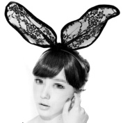 Black Sexy Lace Headband Hairband Sweet Bunny Rabbit Ear Hair Band for Costume Party Masquerade Cosplay Wedding Fancy Dress Accessory