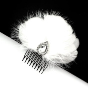Bridal White Feather & Ostrich Fur Decorative Comb with Rhinestones
