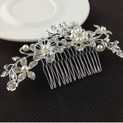 Geoot Bridal Wedding Jewellery Crystal Rhinestone Pearl Flowers Hair Comb Pin