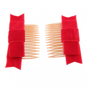 7.1cm Plastic Tortoise Colour Hair Combs with Red Velvet Bow Great Christmas Gift-2pcs Per Pack