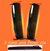2 Black Pocket Comb - 13cm Long Regular & Fine Teeth With Pocket Clip
