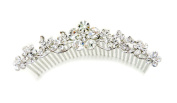Faship Gorgeous Clear Crystal Flower Big Hair Comb