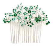 Faship Hair Comb Gorgeous Emerald Green Crystal Pearl Floral
