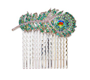 Faship Gorgeous Peacock Feather Hair Comb Emerald Green AB Crystal