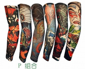 SHINA Lot 6 Pcs Temporary Fake Slip On Tattoo Arm Sleeves Kit Japan Samurai Geisha