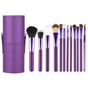 Professional Core Make up Brush 12 Pcs Set Foundation Blending Blush Eyeliner Powder Brush Kit APL1245, Plum Purple