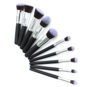 Hiha 10pcs Professional Kabuki Style Make up Brushes Set Daily Foundation Blusher Face Powder