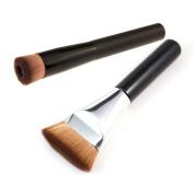 Beety 2pcs Premium Brushes - Black Professional Face Concave Liquid Foundation Makeup Brush + Silver Black Makeup Brush Flat Contour Brush Foundation Brush
