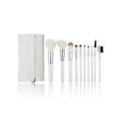 AMarkUp 10 Pcs Professional Women Makeup Cosmetics Brushes Set Kits White with Leather Bag