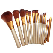 Chinatera 12Pcs Luxury Gold Cosmetic Makeup Brushes Set Foundation Eyeshadow Blending Blush Eyeliner Face Contour Brushes, Goat Hair