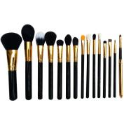 HOSL® Premium Synthetic Hair Cosmetics Foundation Blending Blush Face Powder Brush Makeup Brush Kit Makeup Brush Set (15PCS Golden and Black)